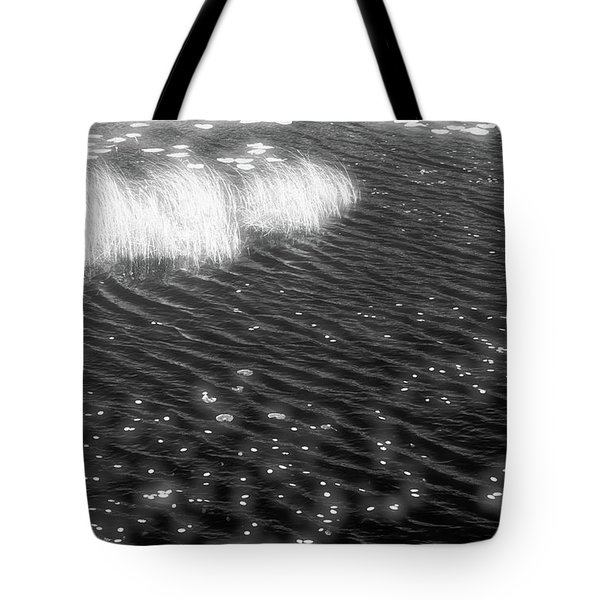 Grass And Water And Lilly Pads Bw2  Tote Bag