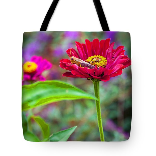 Tote Bag featuring the photograph Grasshopper And Flower by Edward Peterson