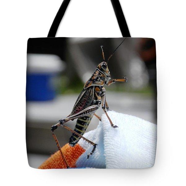 Dancing Grasshopper At The Pool Tote Bag