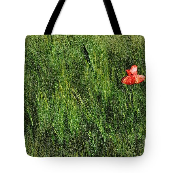 Grassland And Red Poppy Flower 2 Tote Bag