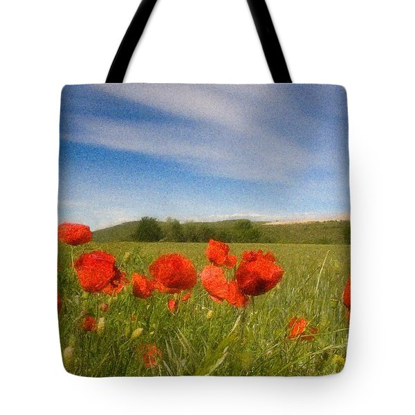 Tote Bag featuring the photograph Grassland And Red Poppy Flowers by Jean Bernard Roussilhe