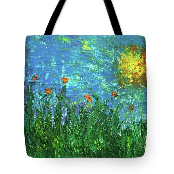 Grassland With Orange Flowers Tote Bag by Erik Tanghe