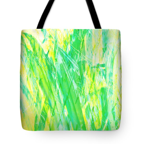 Tote Bag featuring the painting Grassy Abstract In Yellow Green Aqua White by Menega Sabidussi