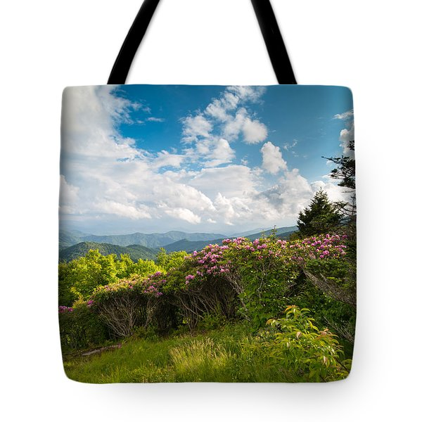 Grassy Ridge Roan Highlands Rhododendrons On The Appalachian Trail Tote Bag