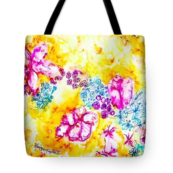Tote Bag featuring the painting Gratitude Blooms by Monique Faella