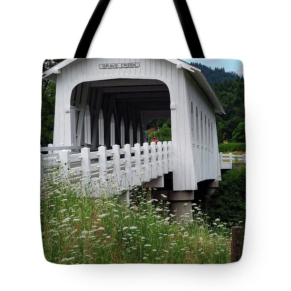Grave Creek Bridge Tote Bag by Methune Hively