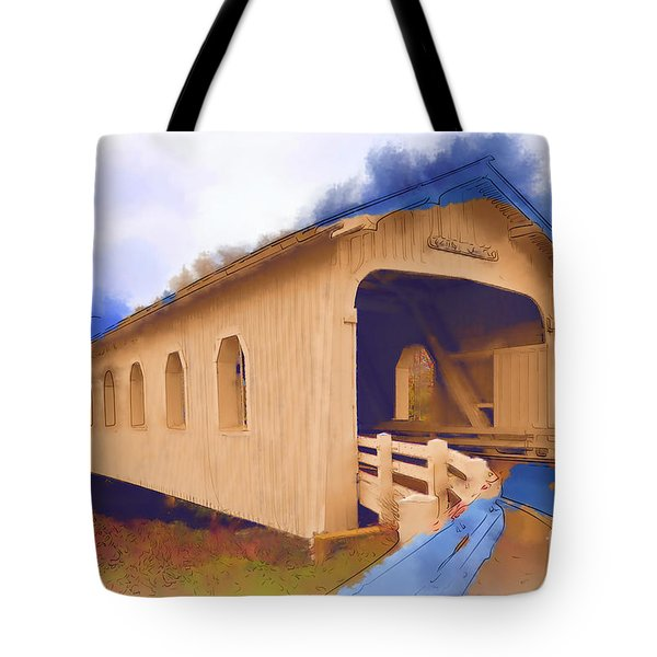 Tote Bag featuring the digital art Grave Creek Covered Bridge In Watercolor by Kirt Tisdale