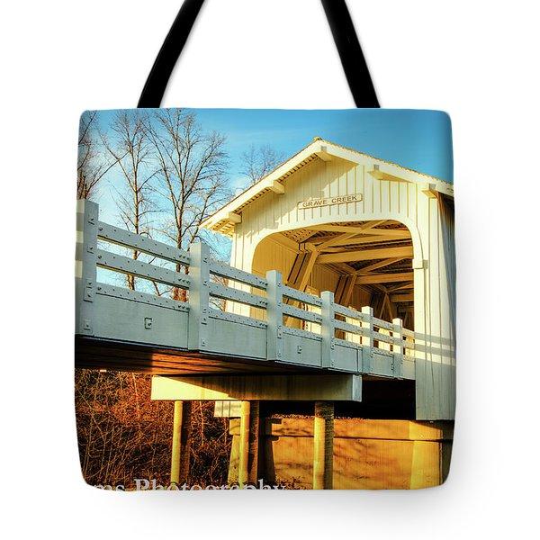 Grave Creek Covered Bridge Tote Bag