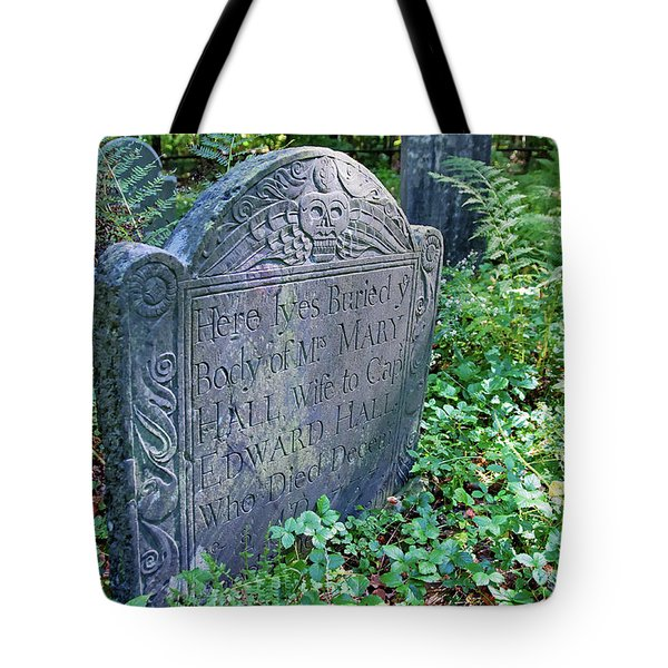 Tote Bag featuring the photograph Grave Of Mary Hall by Wayne Marshall Chase