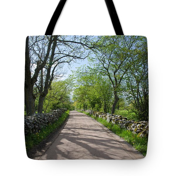 Gravel Road With Mossy Stone Walls Tote Bag