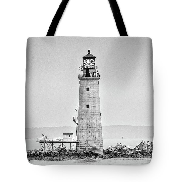 Graves Lighthouse- Boston, Ma - Black And White Tote Bag by Peter Ciro