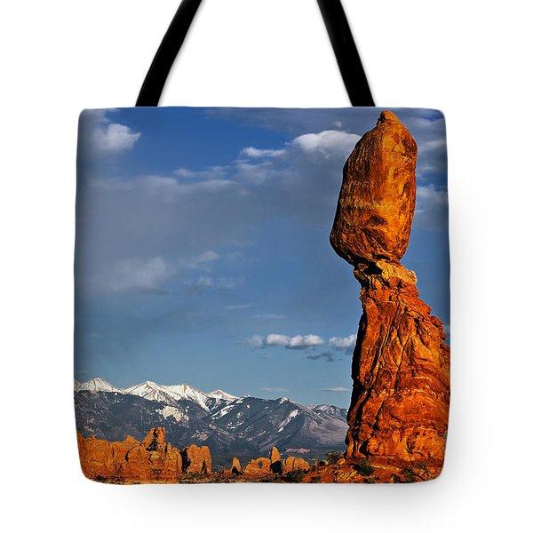 Gravity Defying Balanced Rock, Arches National Park, Utah Tote Bag by Sam Antonio Photography