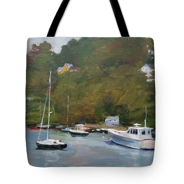 Gray Afternoon At Rockport Harbor Tote Bag by Peter Salwen