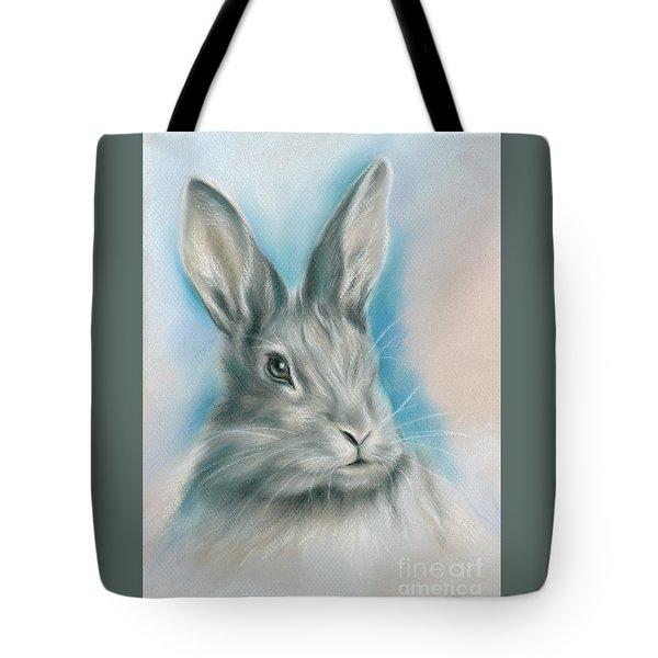 Gray Bunny Rabbit On Blue Tote Bag