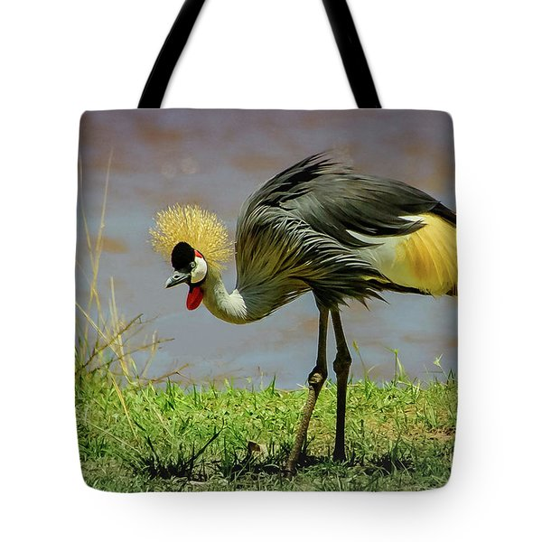 Gray Crowned Crane Tote Bag by Janis Knight