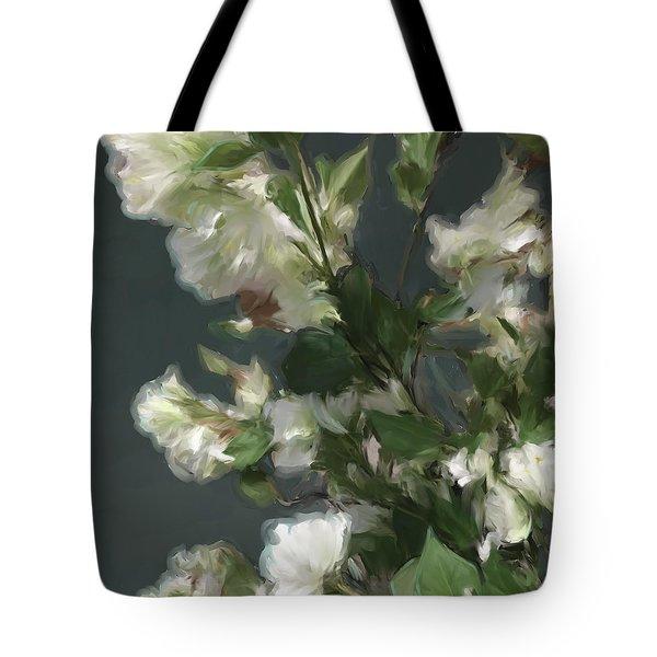 Gray Floral 09 Tote Bag