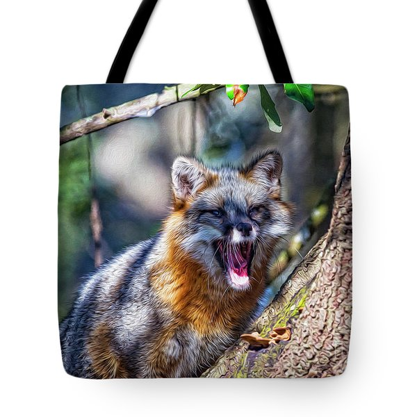 Gray Fox Awakens In The Tree Tote Bag