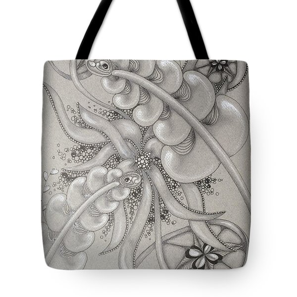 Gray Garden Explosion Tote Bag by Jan Steinle