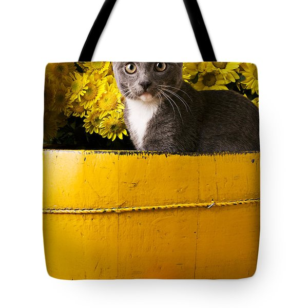 Gray Kitten In Yellow Bucket Tote Bag by Garry Gay