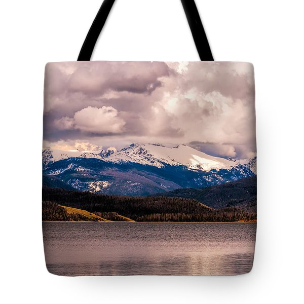 Gray Skies Over Lake Granby Tote Bag