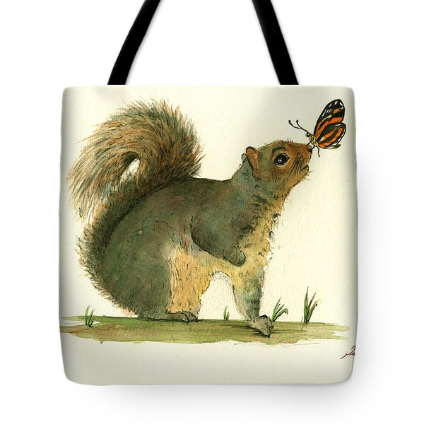 Gray Squirrel Butterfly Tote Bag