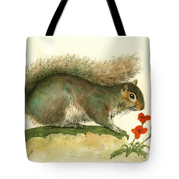 Gray Squirrel Flowers Tote Bag