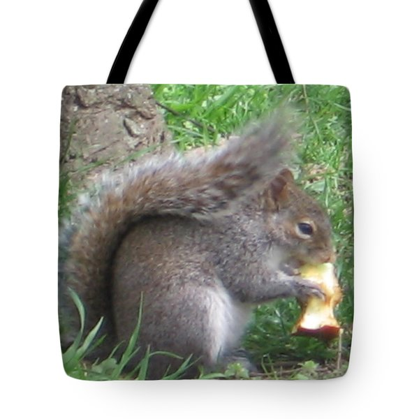 Gray Squirrel With An Apple Core Tote Bag