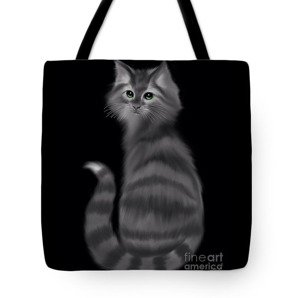 Tote Bag featuring the painting Gray Striped Cat by Nick Gustafson