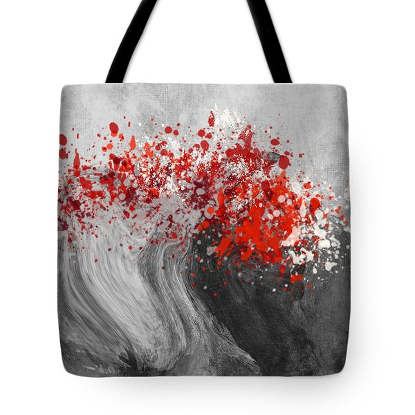 Gray Wave Turning Red Tote Bag