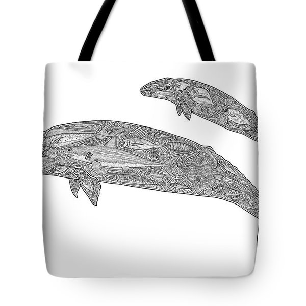 Gray Whale And Calf Tote Bag by Carol Lynne