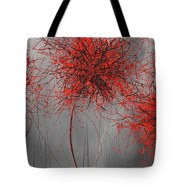 Grayish Vibrant Blooms- Red And Gray Modern Art Tote Bag by Lourry Legarde