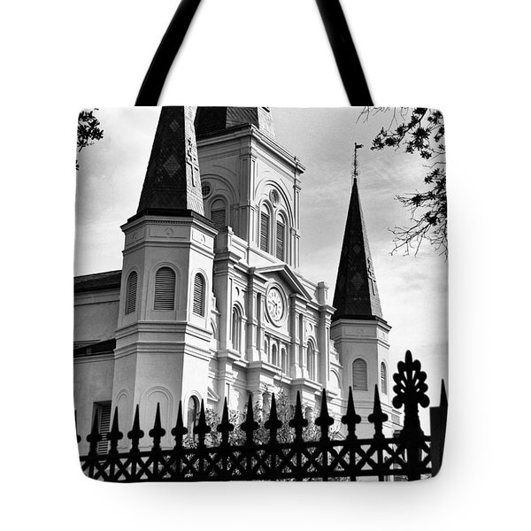 Grayscale St. Louis Cathedral Tote Bag