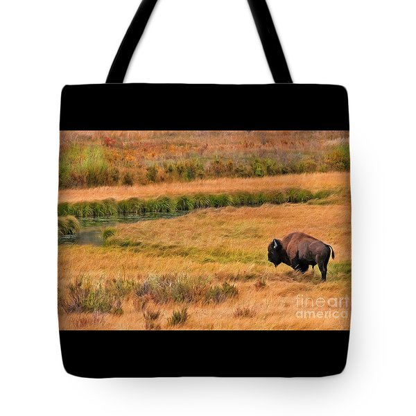Grazing Bison And Stream Tote Bag by Clare VanderVeen