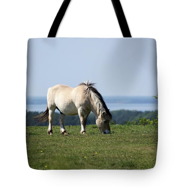 Tote Bag featuring the photograph Grazing Fjord Horse by Kennerth and Birgitta Kullman