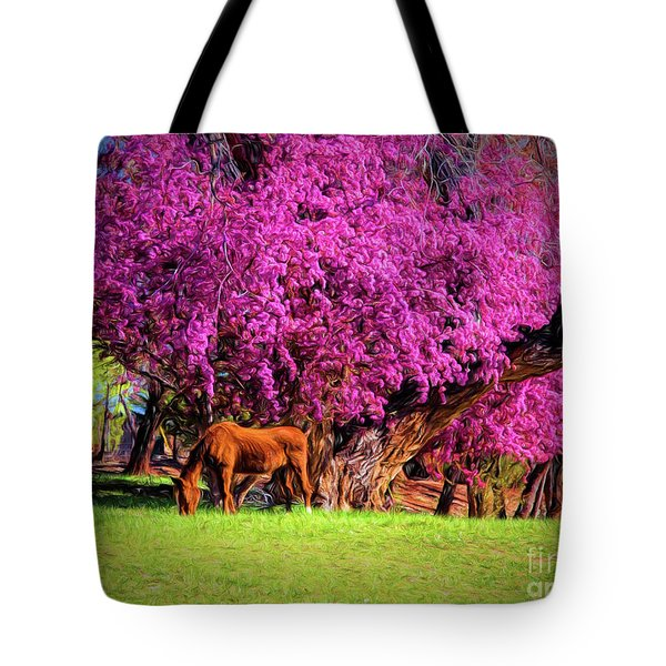 Grazing Horse  ... Tote Bag by Chuck Caramella