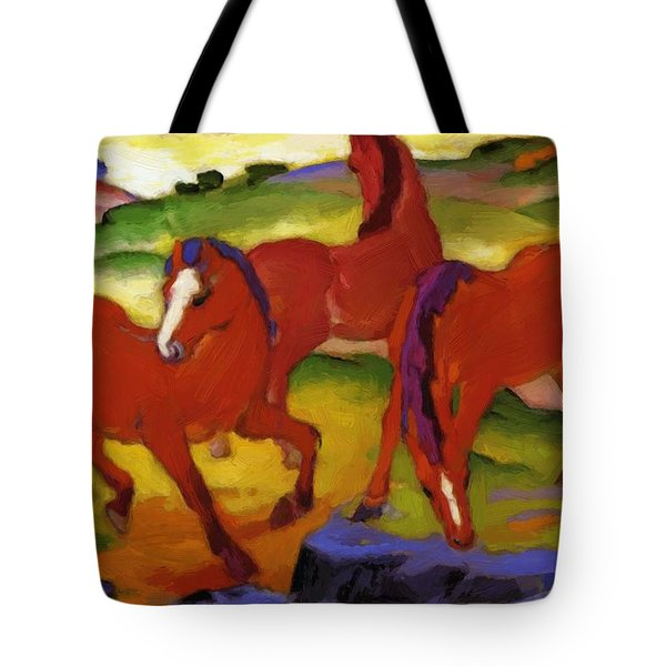 Grazing Horses Iv The Red Horses 1911 Tote Bag
