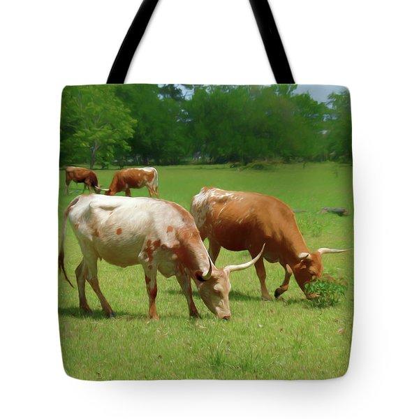 Grazing Longhorns 2 Tote Bag by Travis Burgess
