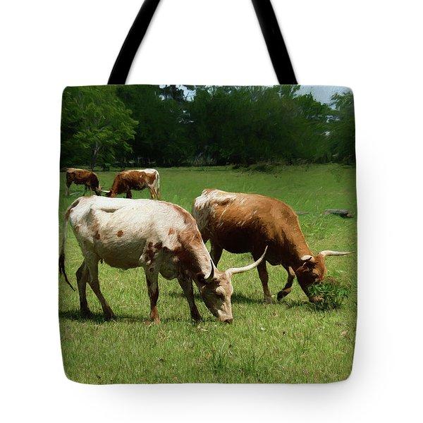 Grazing Longhorns 3 Tote Bag by Travis Burgess