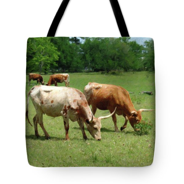 Tote Bag featuring the photograph Grazing Longhorns Pastel by Travis Burgess