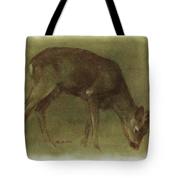 Grazing Roe Deer Oil Painting Tote Bag