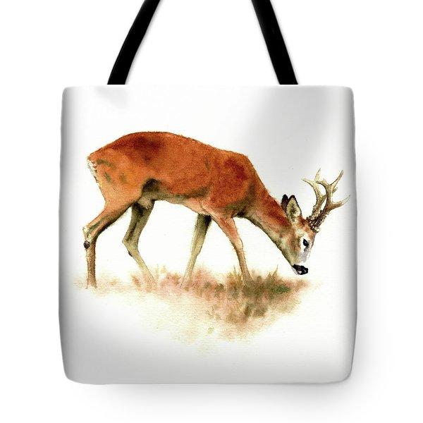 Grazing Roebuck Watercolor Tote Bag
