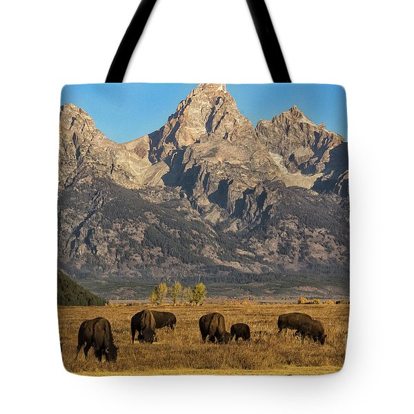 Grazing Under The Tetons Wildlife Art By Kaylyn Franks Tote Bag