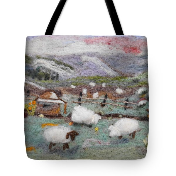 Grazing Woolies Tote Bag by Christine Lathrop