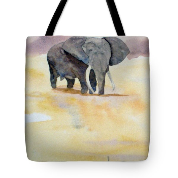 Tote Bag featuring the painting Great African Elephant  by Vicki  Housel