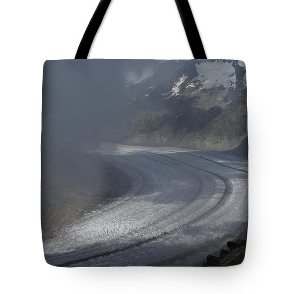 Great Aletsch Glacier In The Clouds. Canton Of Valais, Switzerland. Tote Bag