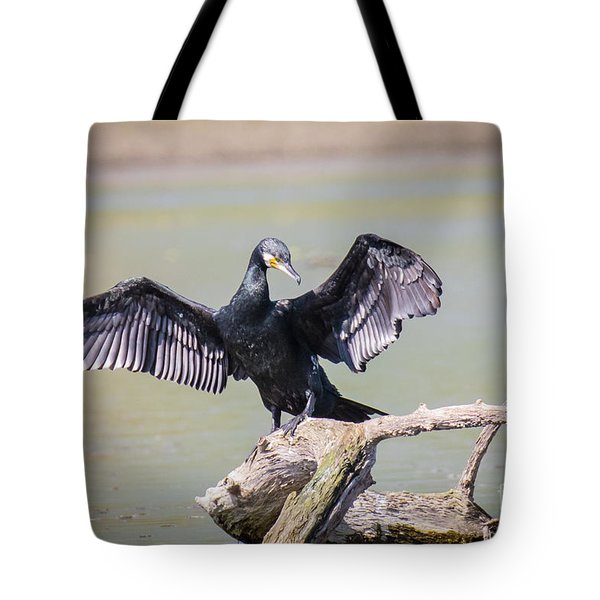 Great Black Cormorant Drying Wings After Fishing Tote Bag