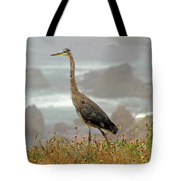 Tote Bag featuring the photograph Great Blue Along The P C H by Donna Kennedy