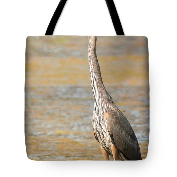 Tote Bag featuring the photograph Great Blue At The Flats by Robert Frederick