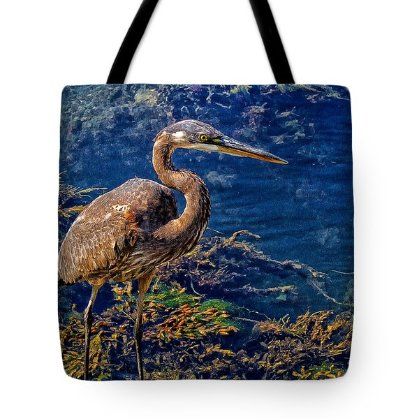 Great Blue Heron And Seaweed Tote Bag
