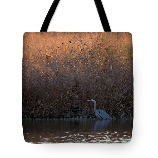 Great Blue Heron And Sunlit Field Tote Bag